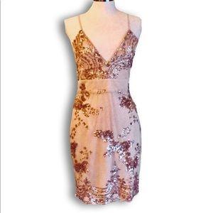 Dresses & Skirts - Gold Sequin Mesh Cami Dress